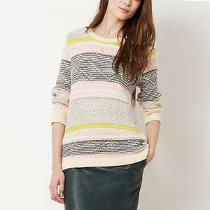 ANTHROPOLOGIE Striped Fairisle Jumper, Multi, M